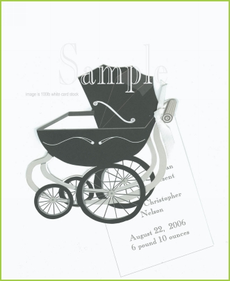 Baby Carriage w/white ribbon tag