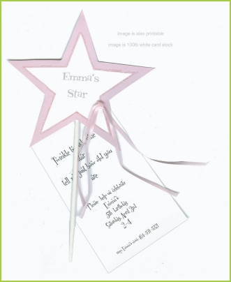 Twinkle Little Star w/pink ribbon tag w/glitter invitation by Stevie Streck