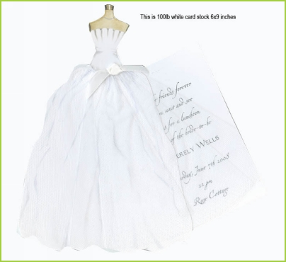 Scalloped Wedding Dress w/white ribbon tag w/tulle invitation by Stevie Streck