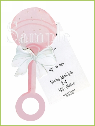 Pink Rattle with ribbon tag and glitter