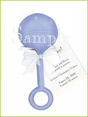 Blue Rattle with ribbon tag and glitter