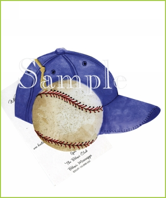 Baseball with Cap with raffia ribbon