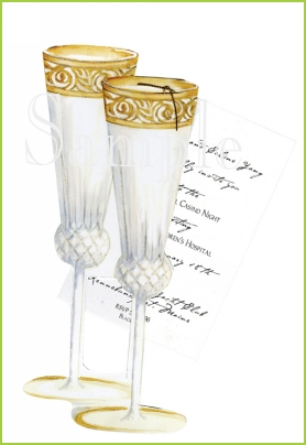 Champagne Flutes with gold tag with glitter