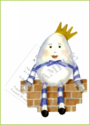 Humpty Dumpty ribbon tag