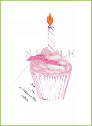 Pink Cupcake with ribbon tag with glitter