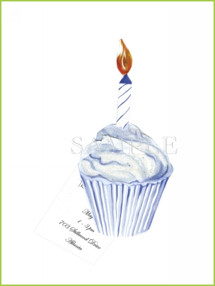 Blue Cupcake with ribbon tag and glitter invitation by Stevie Streck
