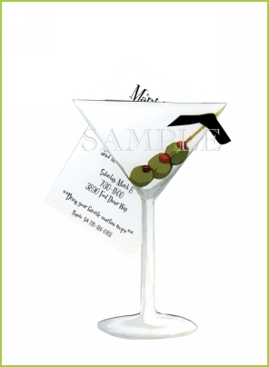 Martini with ribbon tag with cabachon