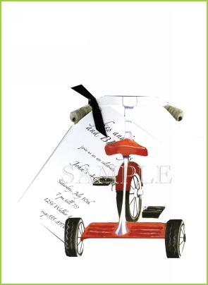 Tricycle with ribbon tag