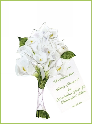 Calla Lilies w/white ribbon tag
