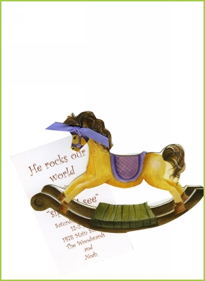 Rocking Horse w/iris ribbon tag