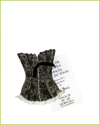 Black Lace Corset w/black ribbon tag