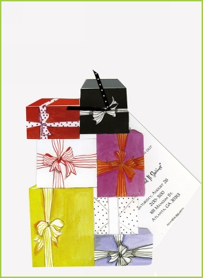 Stacked Gifts w/black/white polka dot ribbon tag invitation by Stevie Streck
