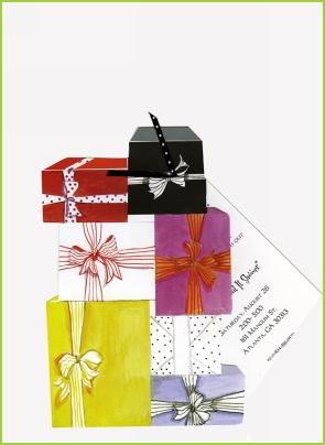 Stacked Gifts w/black/white polka dot ribbon tag