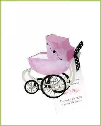 Pink Pram w/black & white polka dot ribbon tag