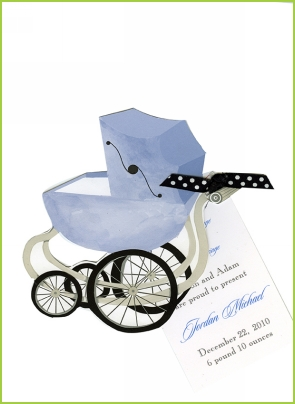 Blue Pram w/black & white polka dot ribbon tag