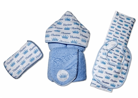 Personalized Blue Crowns Baby Gift Set with Bib, Burb Cloth, Hooded Towel, Washcloth and Hard Wipe Case