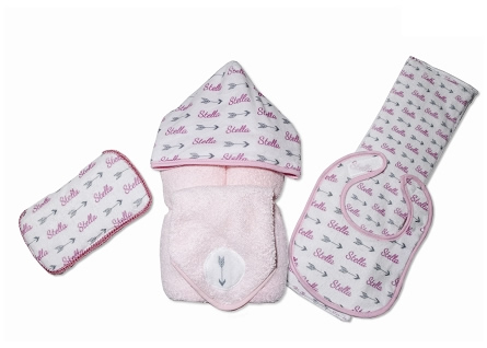 Personalized Pink Arrows Baby Gift Set with Bib, Burb Cloth, Hooded Towel, Washcloth and Hard Wipe Case