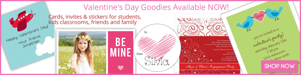 Valentines Day Cards, Invitations, Stickers, Stamps and Gifts