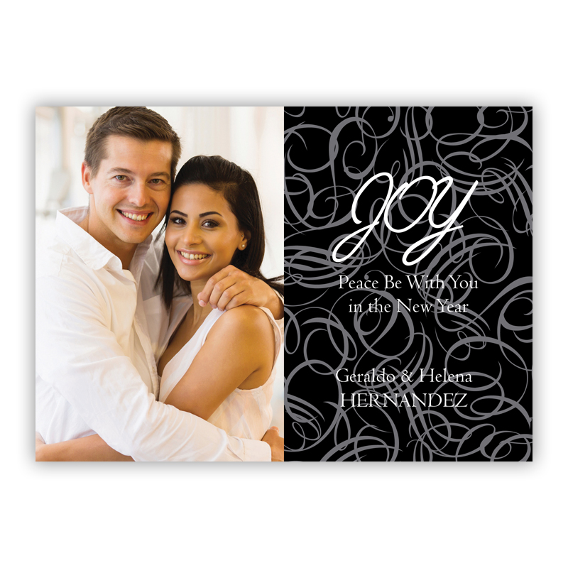 Swirly Black Holiday Photocard