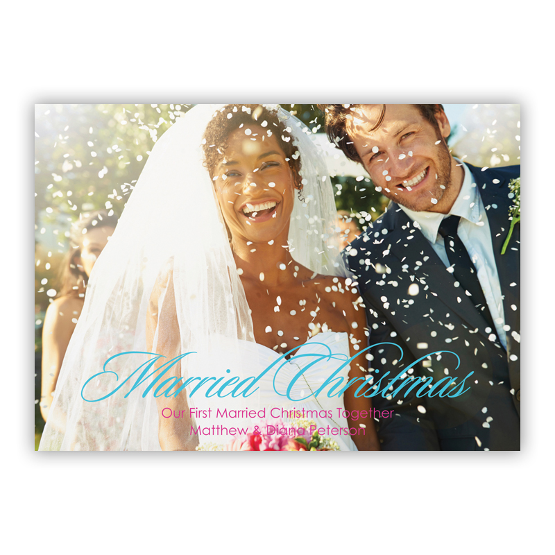 Married Christmas Horizontal Holiday Photocard