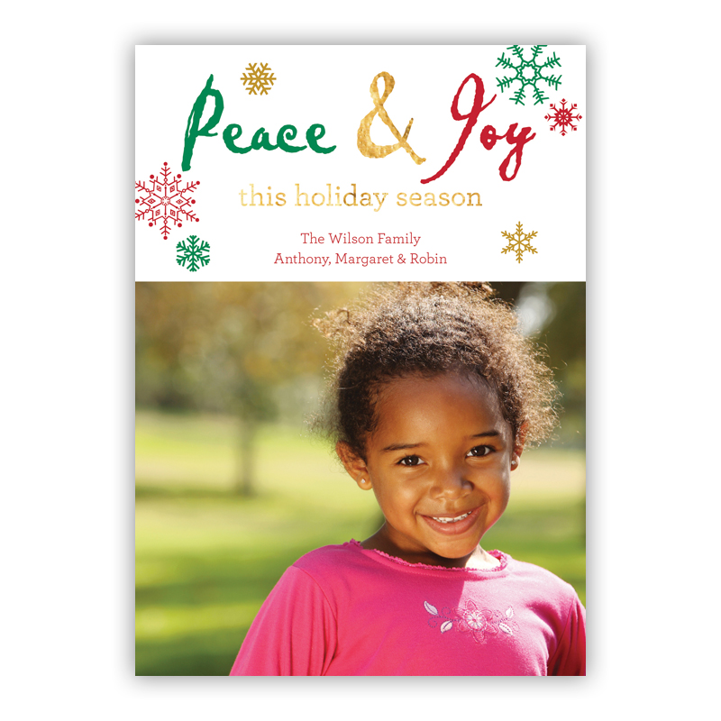 Peace Cut Out Foil Holiday Photocard