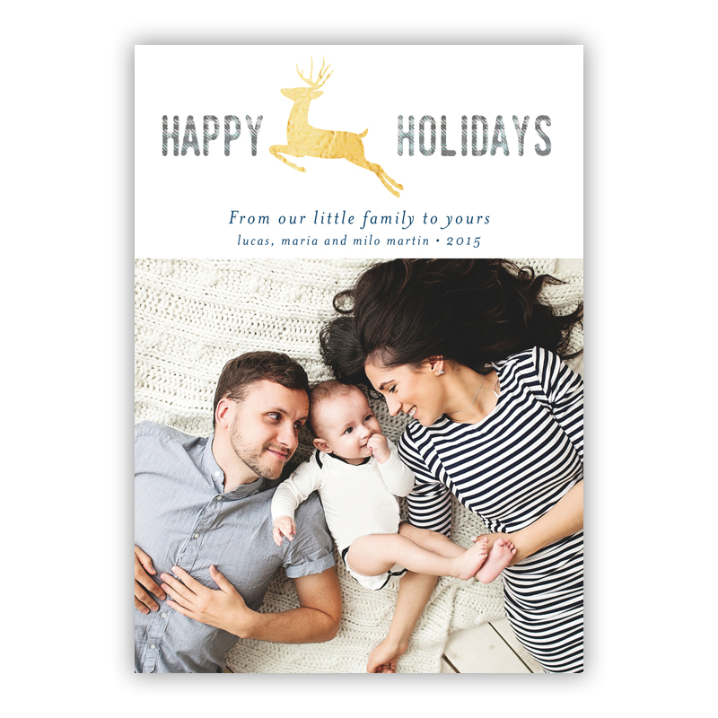Reindeer Jumper Photo Holiday Greeting Card with Foil