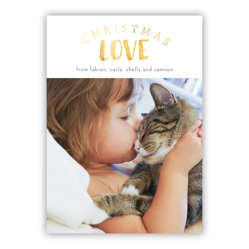 Christmas Love Photo Holiday Greeting Card with Foil