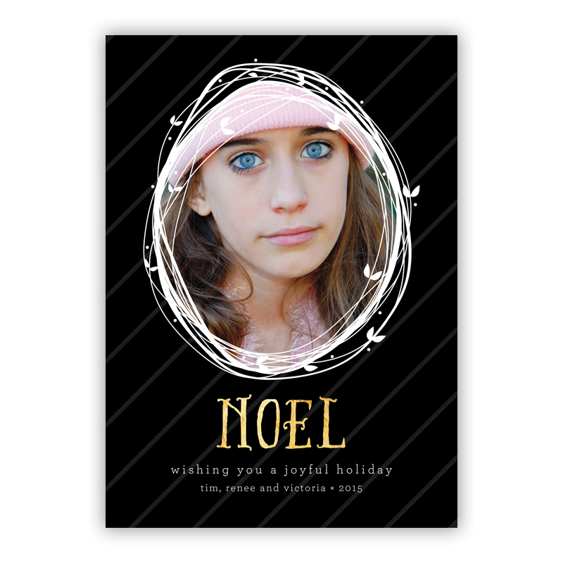 Noel Candy Photo Holiday Greeting Card with Foil