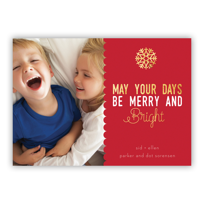 May Your Days be Merry and Bright Scallop with Snowflake Photo Holiday Greeting Card with Foil