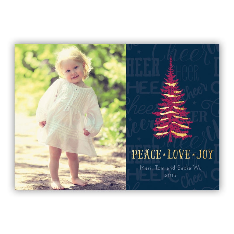 Cheer Tree Peace, Love, Joy Photo Holiday Greeting Card with Foil