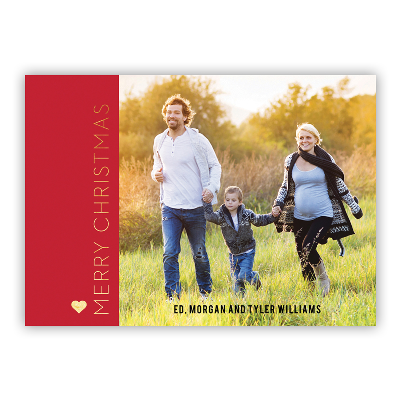 Merry Christmas Holiday Block Photo Holiday Greeting Card with Foil