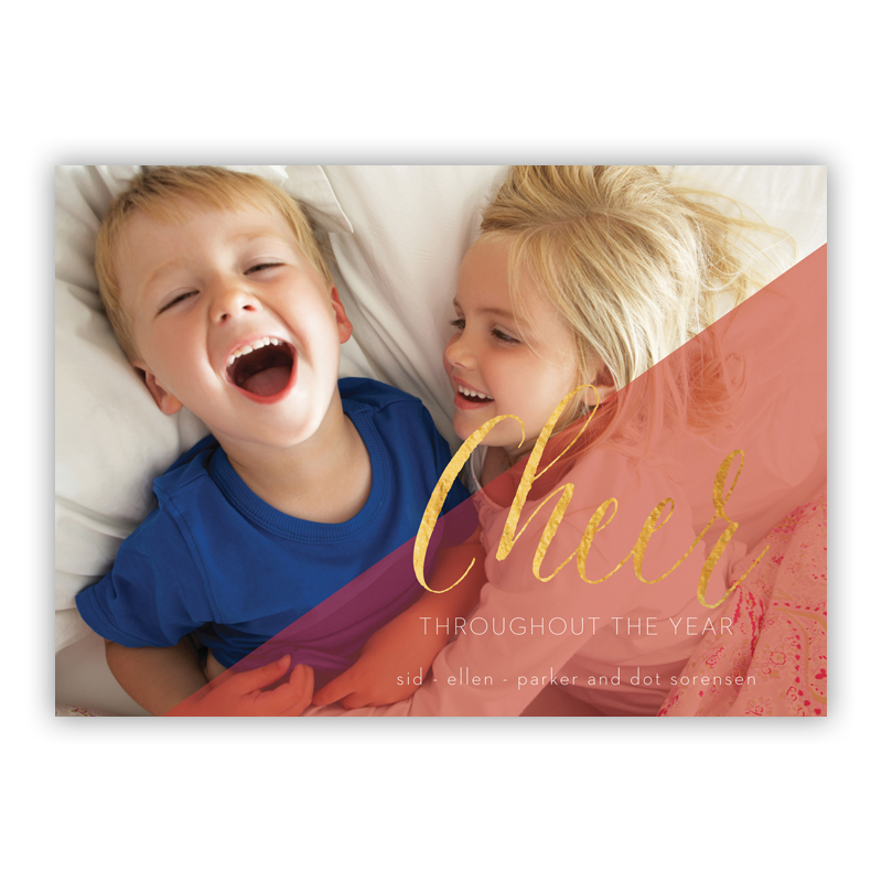 Cheer Faded Photo Holiday Greeting Card with Foil