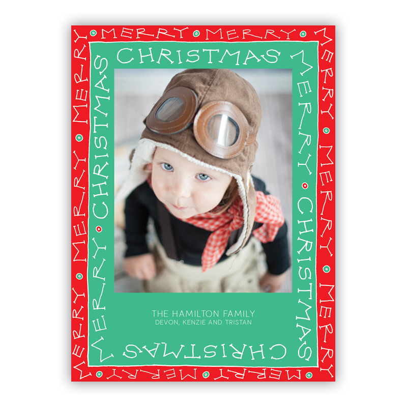 Merry Christmas Frame Jade Photo Holiday Greeting Card