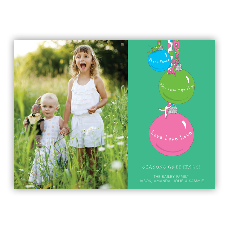 Ornaments Peace, Hope, Love Photo Holiday Greeting Card