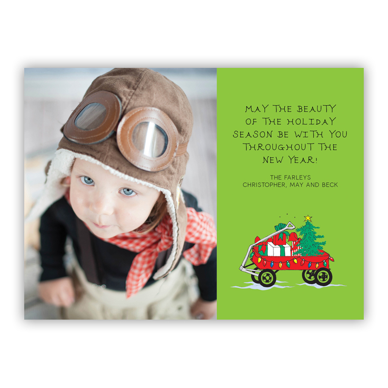 Christmas Gifts Wagon on Lime Photo Holiday Greeting Card