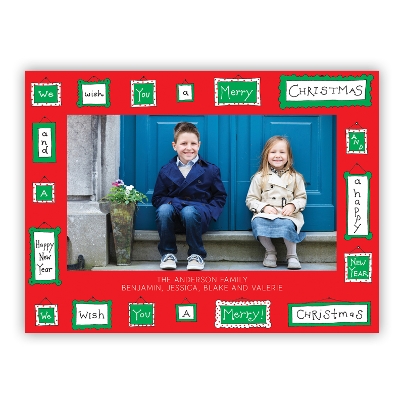 Tiny Christmas Frames Red Photo Holiday Greeting Card