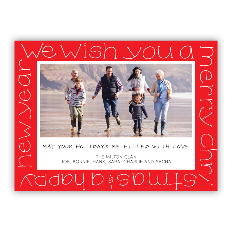 Wish You a Merry Christmas Red Photo Holiday Greeting Card
