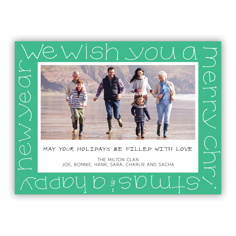 Wish You a Merry Christmas Jade Photo Holiday Greeting Card