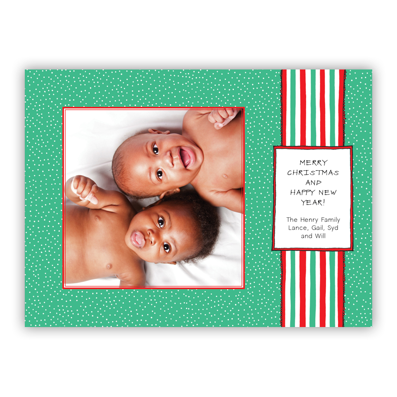 Jade Ribbon Photo Holiday Greeting Card
