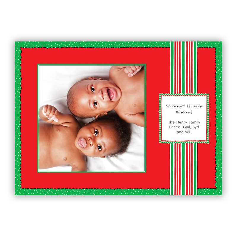 Christmas Stripe Red Photo Holiday Greeting Card