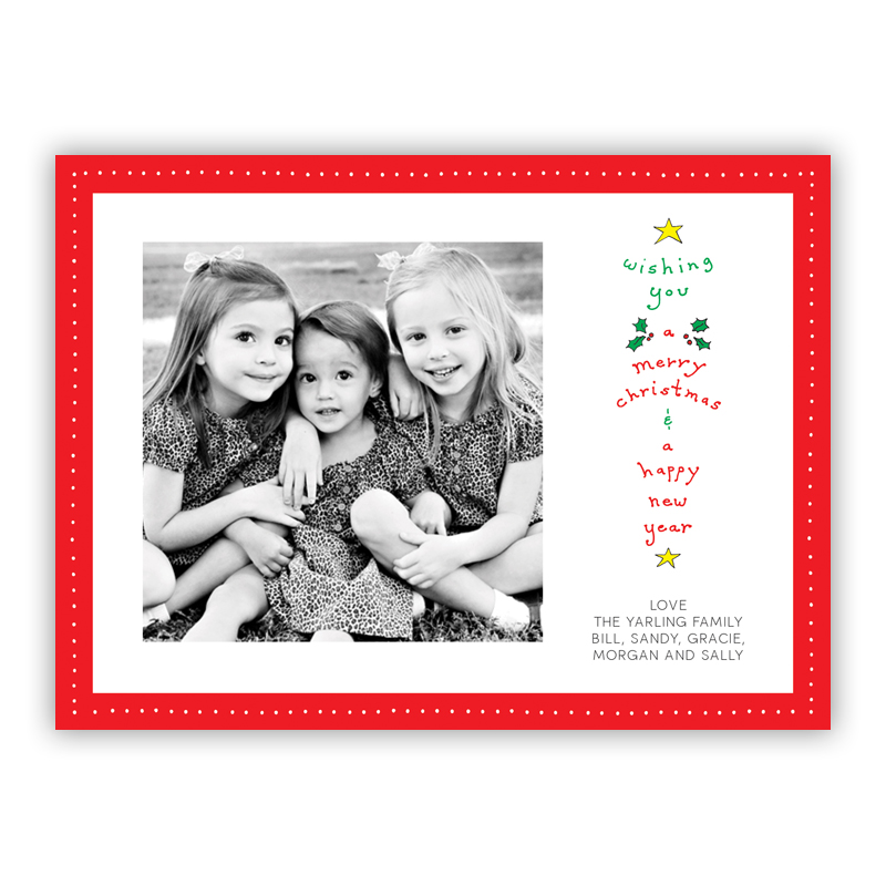Wishing You a Merry Christmas Dot Frame Red Photo Holiday Greeting Card