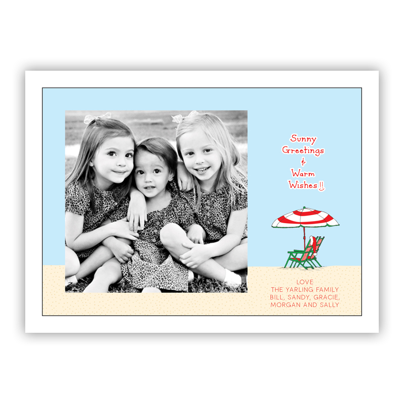 Sunny Greetings & Warm Wishes Beach Chairs Photo Holiday Greeting Card