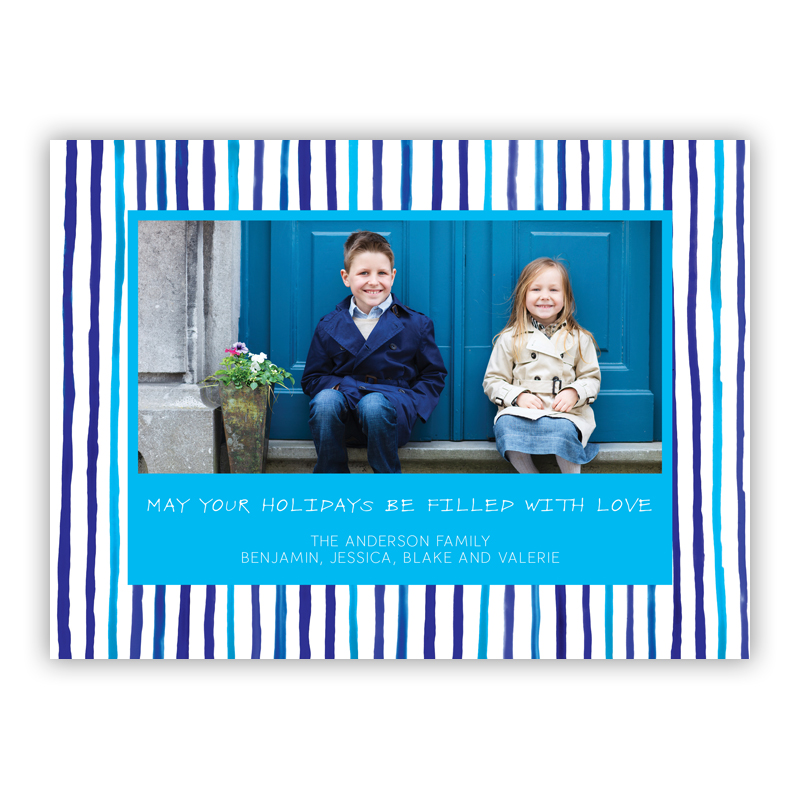 Blue Stripes Photo Holiday Greeting Card