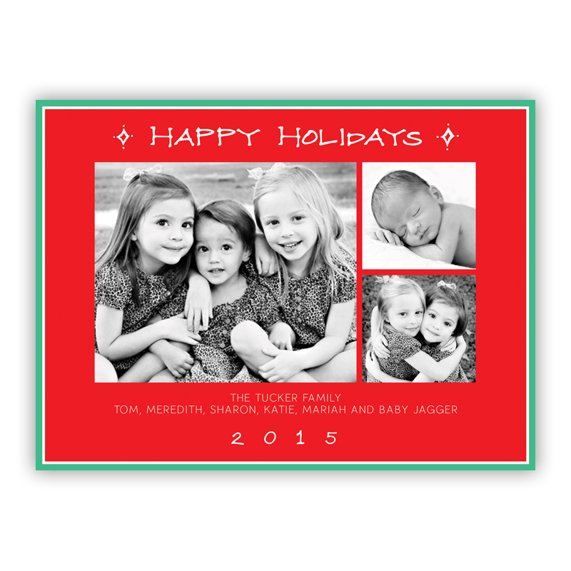 Happy Holidays Classic Frame Red Photo Holiday Greeting Card