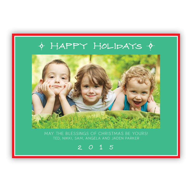 Happy Holidays Classic Frame Jade Photo Holiday Greeting Card