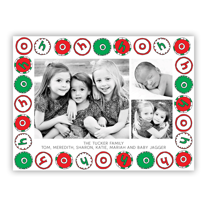 Ho Ho Ho Frame Photo Holiday Greeting Card