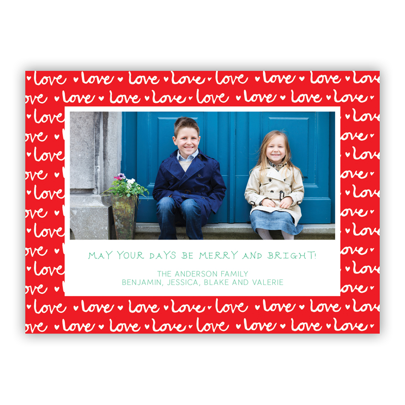 Love Shelby Red Photo Holiday Greeting Card