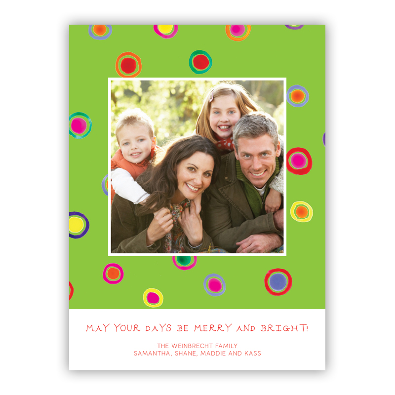 Dots Lime Photo Holiday Greeting Card