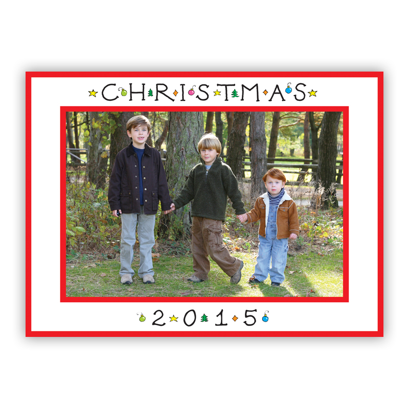 Classic Christmas Horizontal Photo Holiday Greeting Card