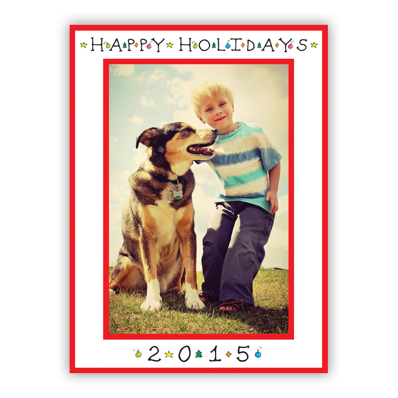 Classic Happy Holidays Vertical Photo Holiday Greeting Card